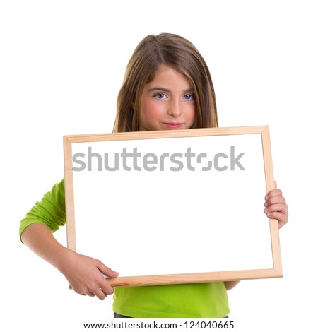 child girl with white frame copy space white blackboard blue eyes to camera