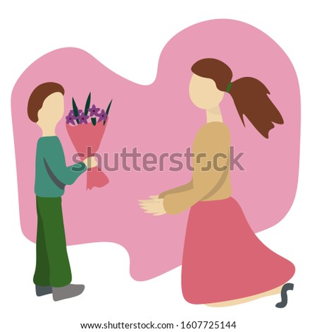 child gives bouquet of flowers to woman. Flat Illustration. Concept International Women's Day, mothers Day,  teacher's Day.