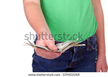 Child giving money, closeup, isolated on white