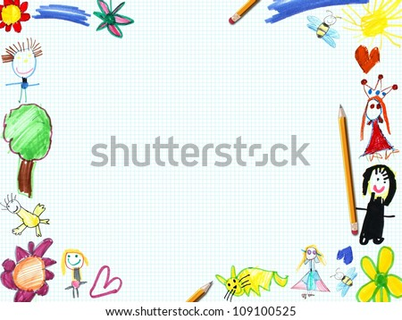 child greeting card frame illustration