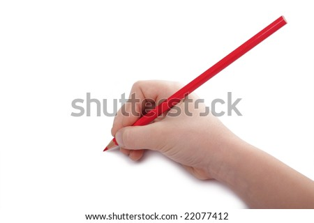 Child hand draws a red pencil. Isolated on white background. Blank sheet. Above view.