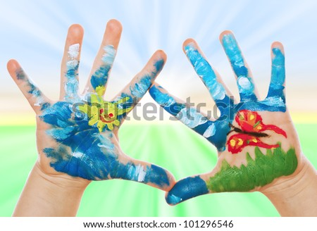 Child Hand Painted on spring background, See my portfolio for more