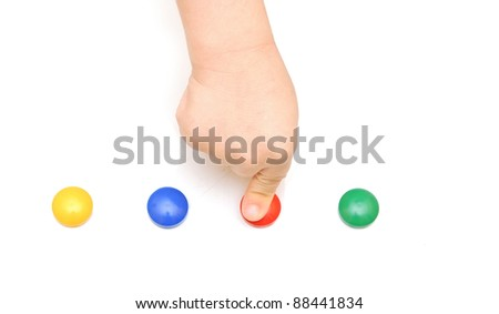 child hand pressing on red button