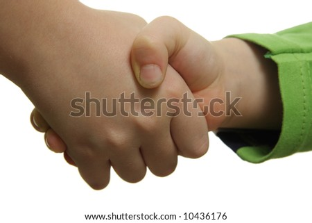 Child hand shake isolated over white background