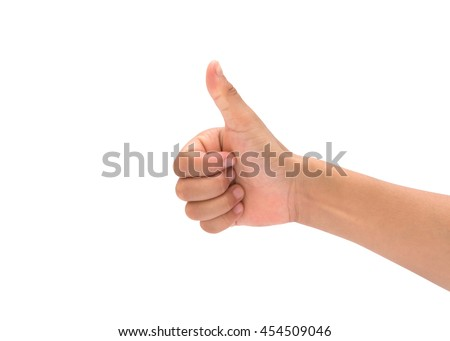 child hand showing one or like count isolated on white background. #454509046
