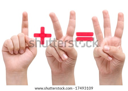 Child hands showing one plus two equal three