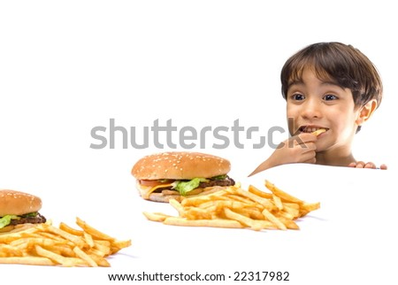 Child Happy with fast food on white background .