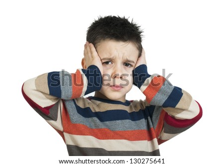Child have headache. White isolated studio shot