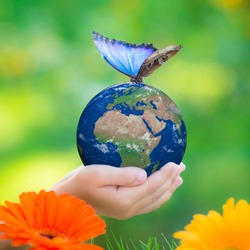 Child holding Earth planet with blue butterfly in hands against green blurred background. Earth day. Spring holiday concept. Elements of this image furnished by NASA