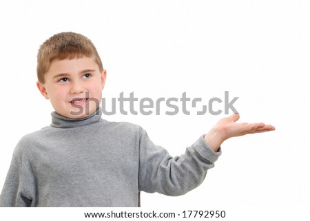 Child Holding Out Hand, isolated on white