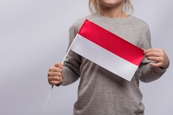 Child holds the Polish flag. Close up. Learning Polish for children. Education in Poland.