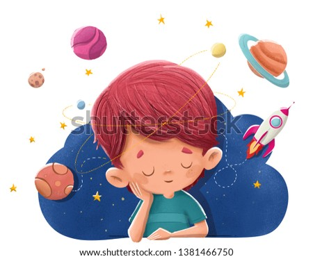 Child imagining and dreaming of planets, rockets, space