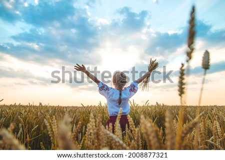 Child in a wheat field. In vyshyvanka, the concept of the Independence Day of Ukraine. Selective focus. Kid. Foto stock ©
