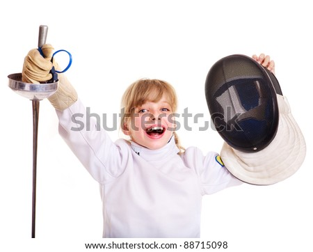 Child in fencing costume holding epee. Isolated.