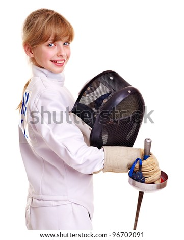 Child in fencing holding epee . Isolated.
