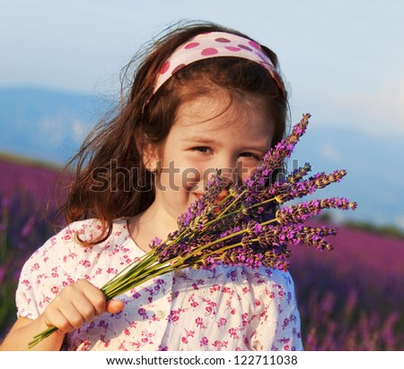 Child in lavender field