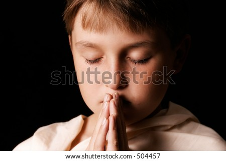 Child in prayer - horizontal softness added