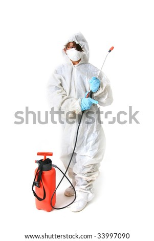 Child in protective suit with mask and spray with poison or pesticide isolated on white