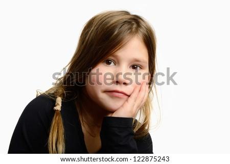 child in studio hand with under her head