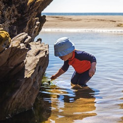 Child in sun hat paddling in rock pool water at the beach / tide in summer - toddler playing happily outdoors, enjoying fun and discovery.