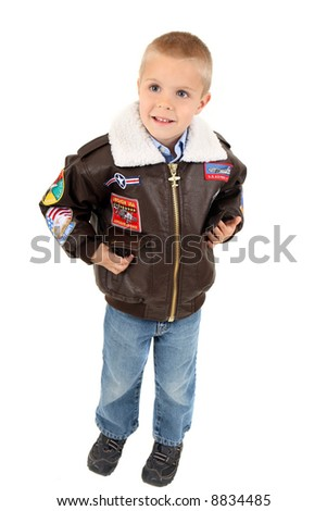 Child isolated on white in a bomber jacket