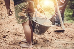 Child labor, Violence children and trafficking concept.