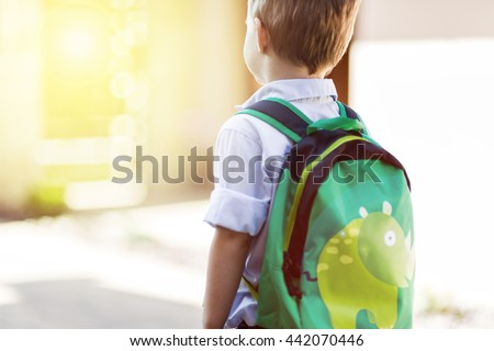 Shutterstock Child leaving home to his first day of kindergarten