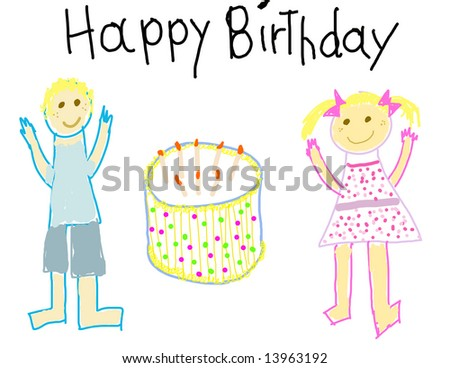 Child like drawing of a boy & girl with Happy Birthday msg