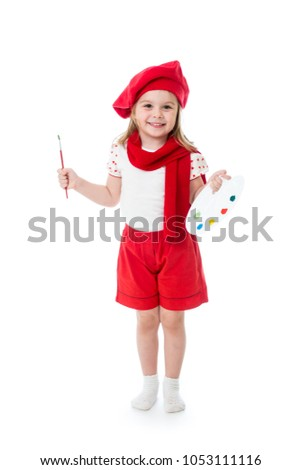 Child little girl in artist costume with paintbrush and palette isolated