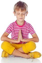 child meditates