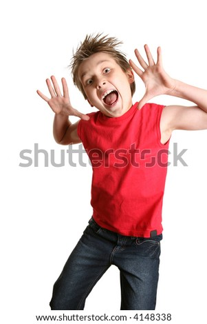 Child mid jump with a crazy happy face