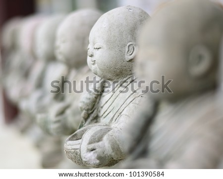 Child Monk Dolls , The Art of statue in the Temple , Chiangmai, Thailand.