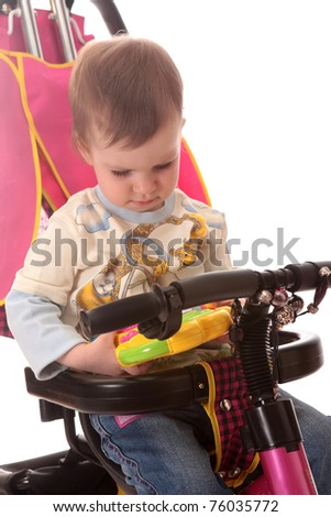 child on a bicycle, on a white background is isolated.