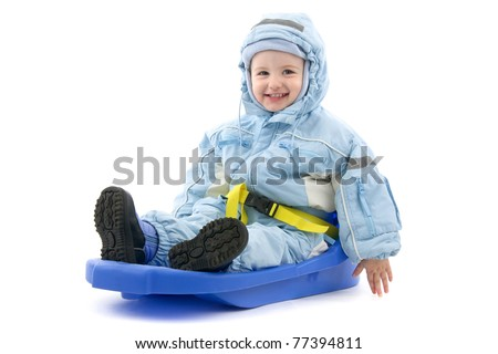 Child on bob-sleds, on white background.