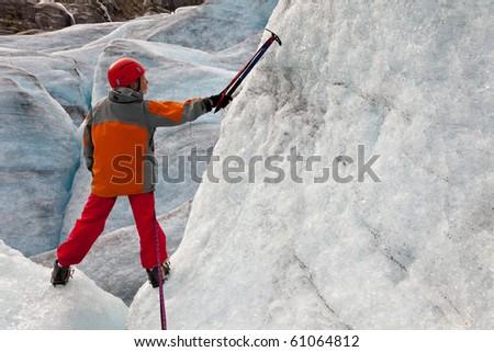 child on ice of Norwegian glacier