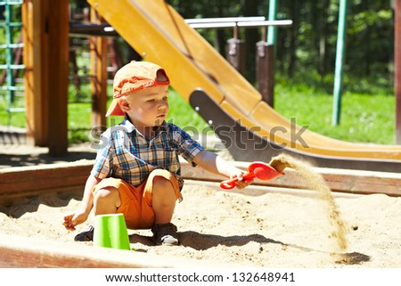 Child on playground in summer park