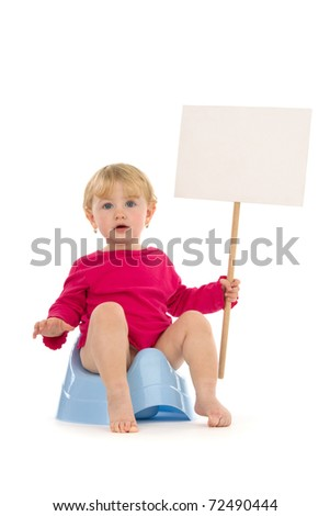 Child on potty with place for your advertisement, poise, on white background.