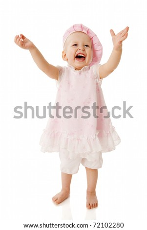 Child one year age Looking Up laughing isolated