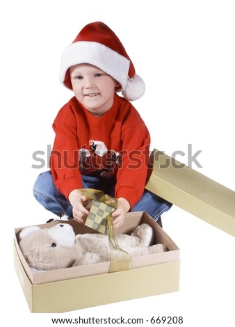 child opening a present and happy #2