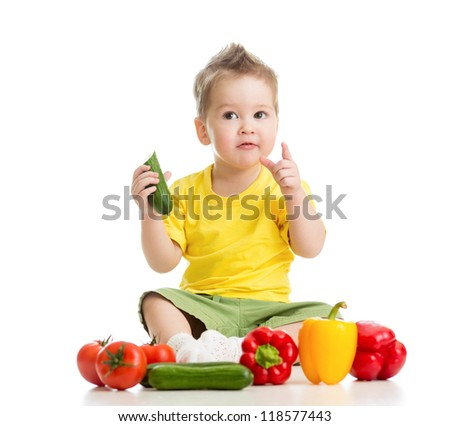 child or kid eating healthy food isolated on white - stock photo