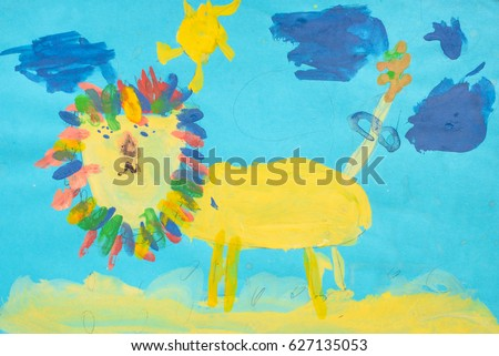 Child paint colorful color pencil drawing: Child draws of the funny lion on blue sky background texture