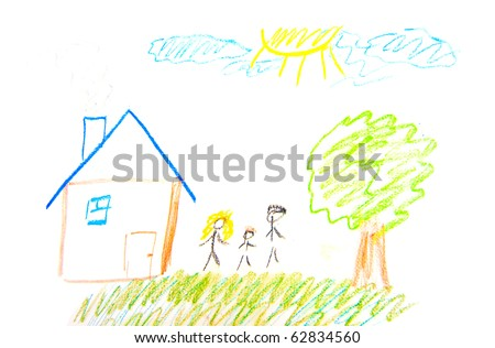 Child Painting family and home on white