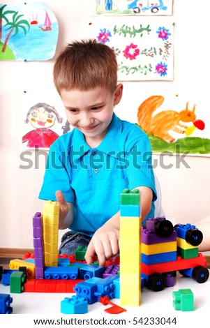 Child play construction set in play room.