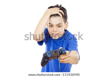 child playing computer games on the joystick