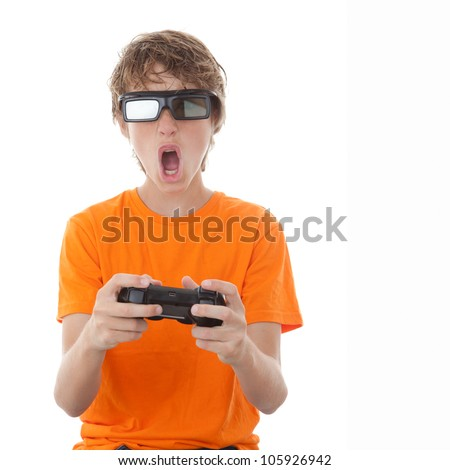 child playing video game with 3D glasses