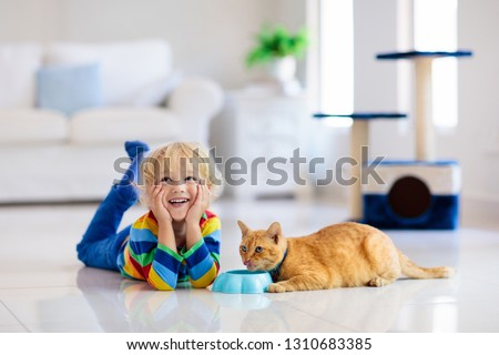 Child playing with cat at home. Kids and pets. Little boy feeding and petting cute ginger color cat. Cats tree and scratcher in living room interior. Children play and feed kitten. Home animals. #1310683385