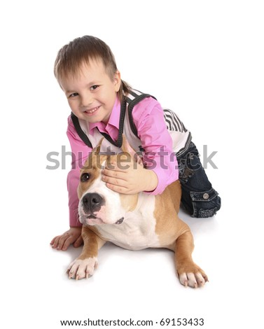 child playing with the dog. Isolated at white background