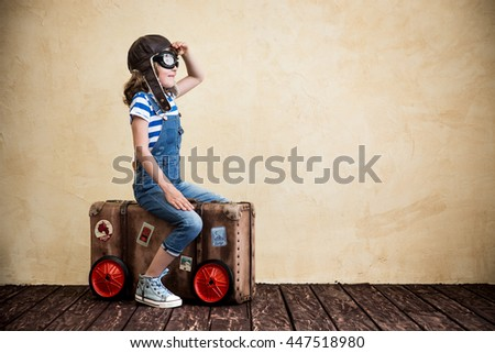 Child pretend to be sailor. Kid having fun at home. Summer vacation and travel concept