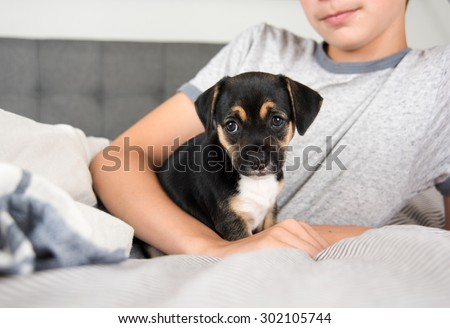 Child Protecting Black Puppy with Floppy Ears
