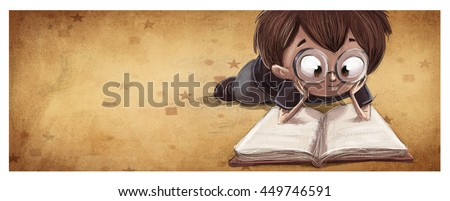 child reading a book lying